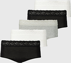 Women's Black, White & Grey Lace Full Knickers 5 Pack