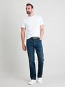 Men's Blue Mid Wash Belted Straight Leg Jeans With Stretch