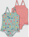 Green Mint & Pink Sprinkle Nappy Swimsuit 2 Pack - Tu Clothing by Sainsbury's