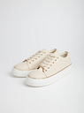 Women's Nude Faux Leather Trainers