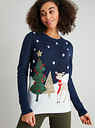 Women's Christmas Navy Reindeer Scene Jumper