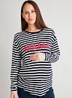 Women's Maternity Stripe 'Mama' Slogan Top