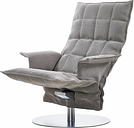 Woodnotes K chair with armrest, swivel base, stone/black
