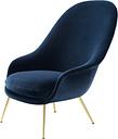 Gubi Bat lounge chair, high, Velluto 970 - brass base