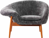Warm Nordic Fried Egg lounge chair, Scandinavian Grey sheepskin
