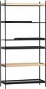 Woud Tray shelf, high, 2 oak - 2+2 black