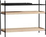 Woud Tray shelf, low, 1 black - 2 oak