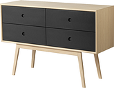 FDB Møbler F22 Butler dresser, low, oak - black