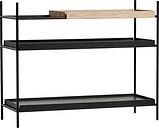 Woud Tray shelf, low, 1 oak - 2 black