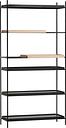 Woud Tray shelf, high, 2 oak - 4 black