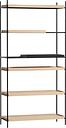 Woud Tray shelf, high, 1+4 oak - 1 black