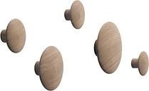 Muuto Dots Wood coat hooks, set of 5, oak