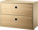 String Furniture String chest with 2 drawers, 58 x 30 cm, oak