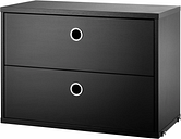 String Furniture String chest with 2 drawers, 58 x 30 cm, black stained ash
