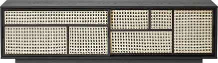 Design House Stockholm Air sideboard, low, black - cane
