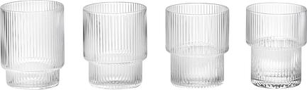 Ferm Living Ripple glasses, 4 pcs, clear