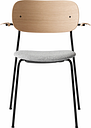 Menu Co Chair with armrests, oak - grey fabric