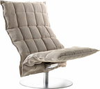 Woodnotes K chair, swivel base, wide, stone/black