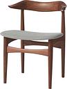Warm Nordic Cow Horn chair, oiled walnut - light grey
