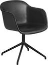 Muuto Fiber armchair, swivel base, black leather