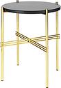 Gubi TS coffee table, 40 cm, brass - black glass