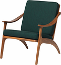 Warm Nordic Lean Back lounge chair, teak - forest green