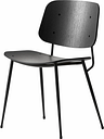 Fredericia Søborg chair 3060, black steel base, black oak