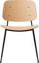 Fredericia Søborg chair 3060, black steel base, lacquered oak