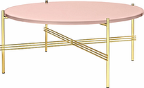 Gubi TS coffee table, 80 cm, brass - pink glass