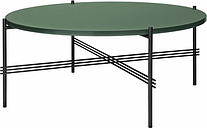 Gubi TS coffee table, 80 cm, black - green glass