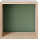 Muuto Stacked 2.0 shelf module w/ background, medium, oak/dusty green