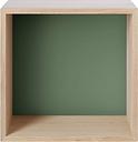 Muuto Stacked 2.0 shelf module w/ background, medium, oak/dusty green