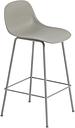Muuto Fiber bar stool with backrest, tube base, grey