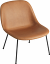 Muuto Fiber lounge chair, tube base, cognac leather - black