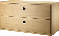 String Furniture String chest with 2 drawers, 78 x 30 cm, oak