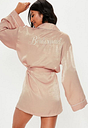 Blush Satin Embroidery Bridesmaid Dressing Gown, Pink