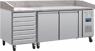Polar U-Series Double Door Pizza Counter with Marble Top and Dough Drawers 290Ltr