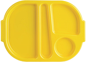 Kristallon Large Polycarbonate Compartment Food Trays Yellow 375mm