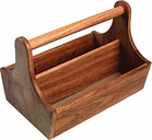 Acacia Wood Condiment Basket with Handle
