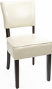 Bolero Chunky Faux Leather Chairs Cream (Pack of 2)