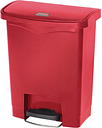Rubbermaid Slim Jim Step on Front Pedal Red 30Ltr