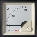 RS PRO Analogue Panel Ammeter 100 (Scle) A, 100/5 (CT) A, 5 (Input) A AC, 72mm x 72mm, 1 % Moving Iron