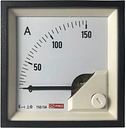 RS PRO Analogue Panel Ammeter 150 (Scle) A, 150/5 (CT) A, 5 (Input) A AC, 72mm x 72mm, 1 % Moving Iron