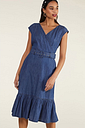 Yumi Blue Denim Gypsy Wrap Dress With Belt