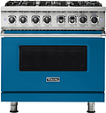 Viking - Professional 5 Series 5.6 Cu. Ft. Freestanding Dual Fuel LP Gas True Convection Range with Self-Cleaning - Alluvial Blue