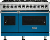 Viking - Professional 5 Series Freestanding Double Oven Dual Fuel LP Gas Convection Range with Self-Cleaning - Alluvial Blue