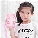 Botella de agua para niños de verano con pajita taza de agua con tapa de plástico botella para beber bebé correa de dibujos animados linda taza de ag