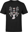 Camiseta Navidad Reno  Ho Ho Ho  - Hombre - Negro - M - Negro