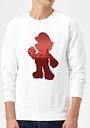 Sweat Homme Super Mario Mario Silhouette - Nintendo - Blanc - XL - Blanc