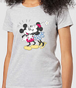 Camiseta Disney Mickey Mouse Beso Mickey y Minnie - Mujer - Gris - S - Gris